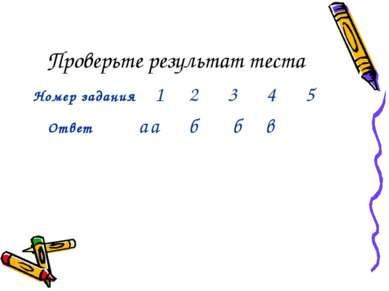 Проверьте результат теста Номер задания 1 2 3 4 5 Ответ а а б б в