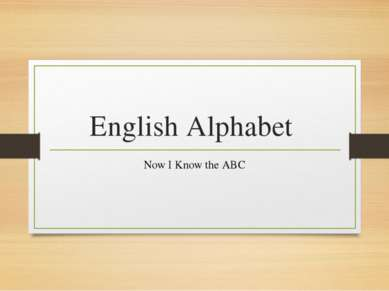 English Alphabet Now I Know the ABC