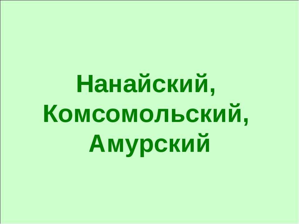 Нанайский, Комсомольский, Амурский