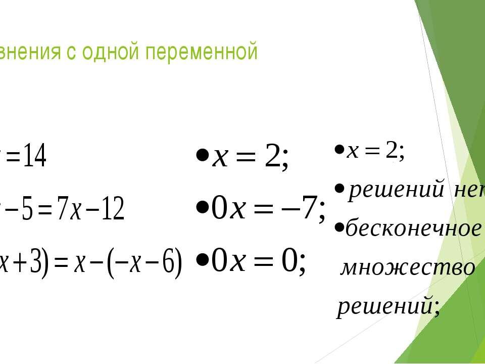 Уравнения с одной переменной