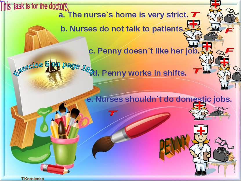 a. The nurse`s home is very strict. b. Nurses do not talk to patients. c. Pen...