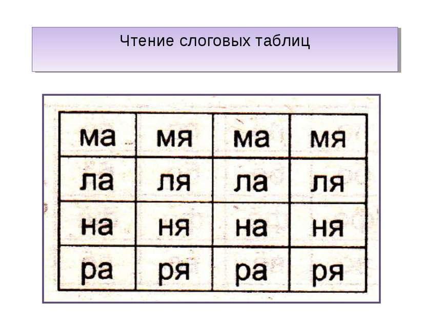 Чтение слоговых таблиц