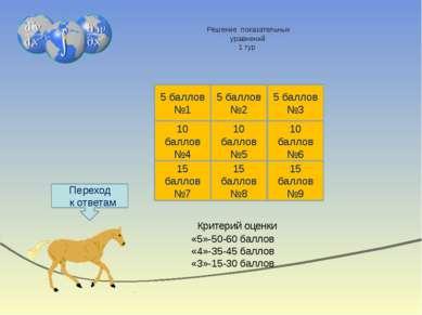 Таблицы ответов 2 тур Критерий оценки «5»-50-60 баллов «4»-35-45 баллов «3»-1...