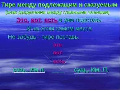 Тире между подлежащим и сказуемым (знак разделения между главными членами) Эт...