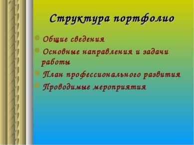 Структура портфолио Общие сведения Основные направления и задачи работы План ...