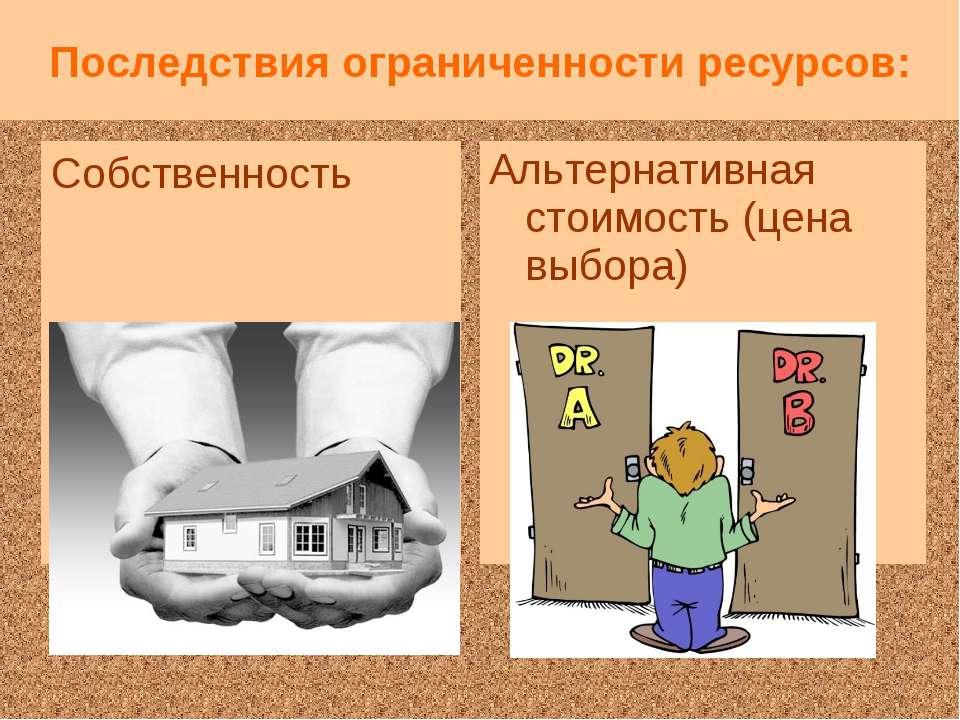 Последствия ограниченности ресурсов: Собственность Альтернативная стоимость (...