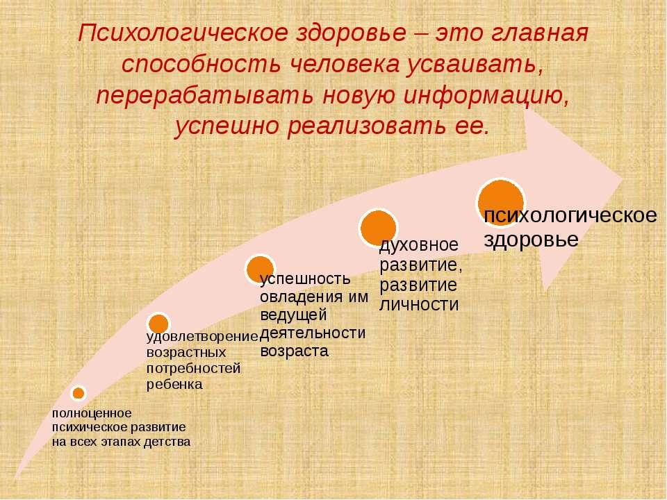 Психологическое здоровье – это главная способность человека усваивать, перера...