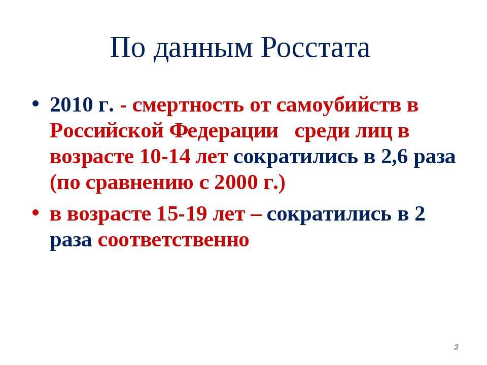 По данным Росстата 2010г. - смертность от самоубийств в Российской Федерации...