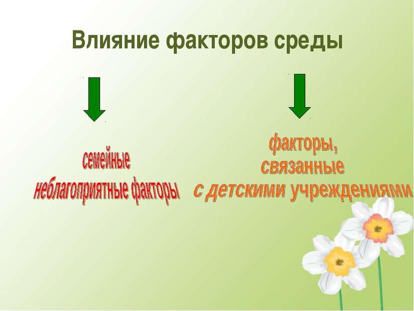 Влияние факторов среды