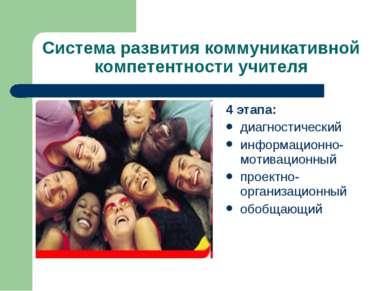 Система развития коммуникативной компетентности учителя 4 этапа: диагностичес...
