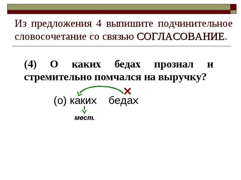 Из предложения 4 выпишите подчинительное словосочетание со связью СОГЛАСОВАНИ...