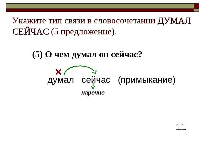 (5) О чем думал он сейчас? 11 Укажите тип связи в словосочетании ДУМАЛ СЕЙЧАС...