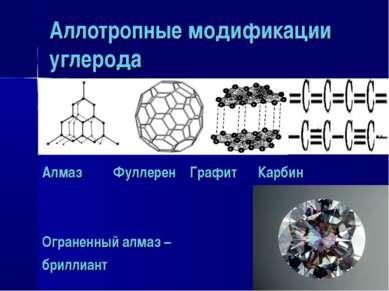 Аллотропные модификации углерода Алмаз Фуллерен Графит Карбин Ограненный алма...