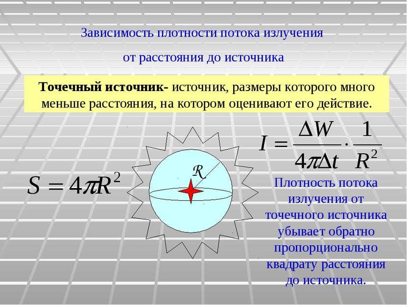 Плотность потока излучения от точечного источника убывает обратно пропорциона...