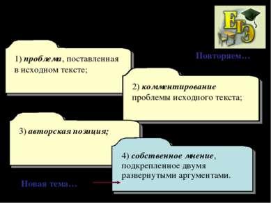 1) проблема, поставленная в исходном тексте; 2) комментирование проблемы исхо...
