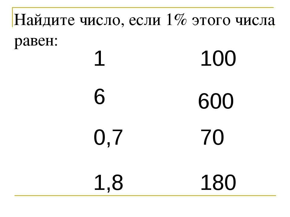 Найдите число, если 1% этого числа равен: 1 6 0,7 1,8 100 600 70 180