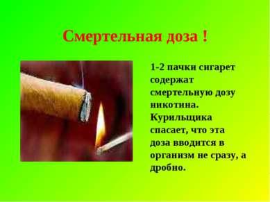 Смертельная доза ! 1-2 пачки сигарет содержат смертельную дозу никотина. Кури...