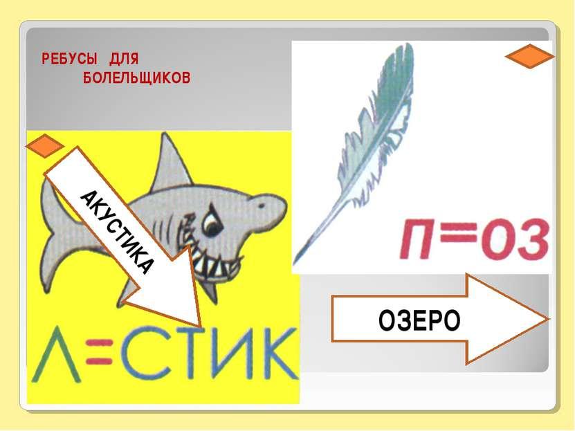 РЕБУСЫ ДЛЯ БОЛЕЛЬЩИКОВ АКУСТИКА ОЗЕРО