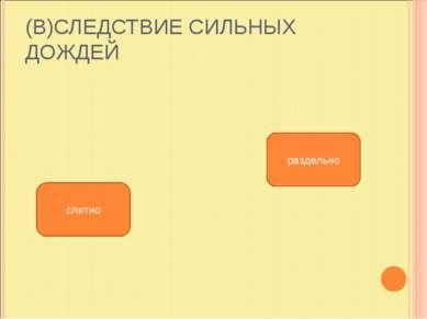 (В)СЛЕДСТВИЕ СИЛЬНЫХ ДОЖДЕЙ слитно раздельно