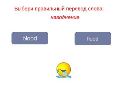 наводнение flood blood Выбери правильный перевод слова: