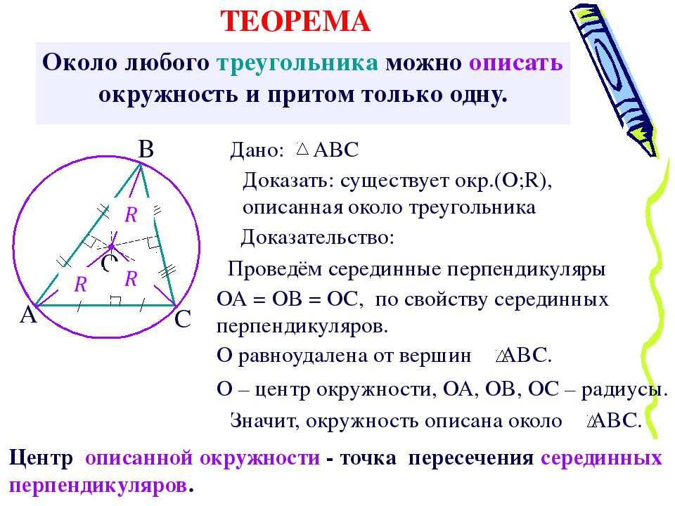 Около любого треугольника можно описать окружность и притом только одну. Дока...