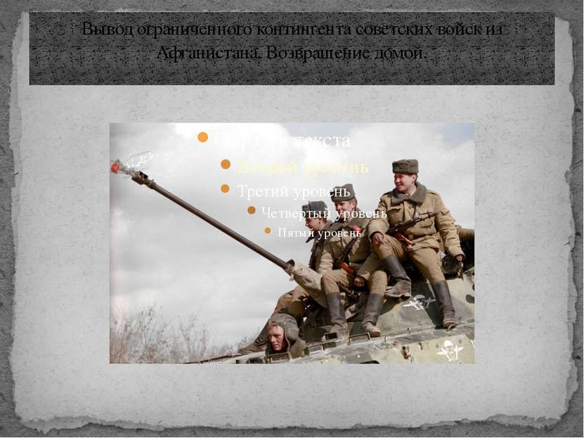 Вывод ограниченного контингента советских войск из Афганистана. Возвращение д...