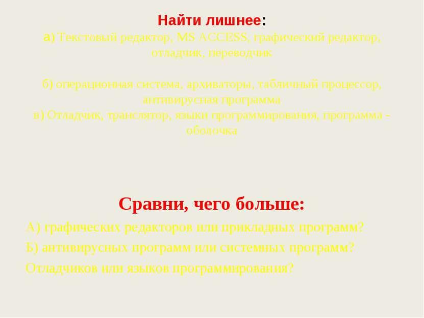 Найти лишнее: а) Текстовый редактор, MS ACCESS, графический редактор, отладчи...