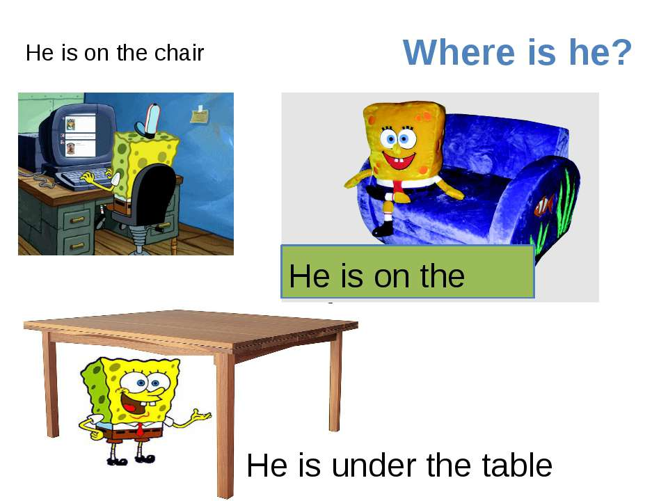 He is on the chair He is on the sofa Where is he? He is under the table