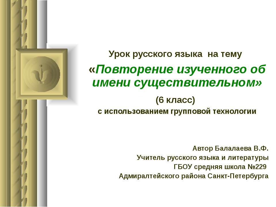 Урок русского языка на тему «Повторение изученного об имени существительном» ...