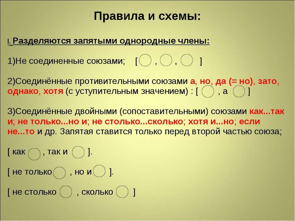 Правила и схемы: I.Разделяются запятыми однородные члены: 1)Не соединенные с...
