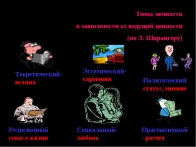 Типы личности в зависимости от ведущей ценности (по Э. Шпрангеру) Теоретическ...
