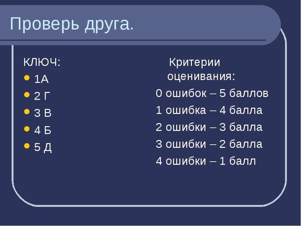 Проверь друга. КЛЮЧ: 1А 2 Г 3 В 4 Б 5 Д Критерии оценивания: 0 ошибок – 5 бал...