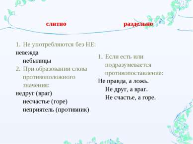 слитно раздельно Не употребляются без НЕ: невежда небылицы При образовании сл...