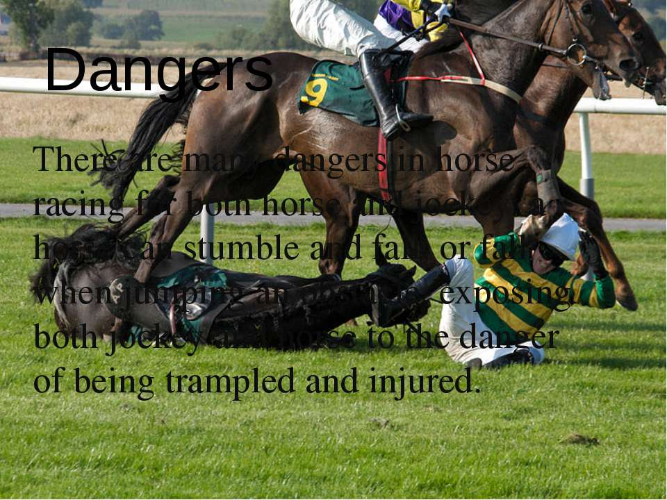 There are many dangers in horse racing for both horse and jockey: a horse can...