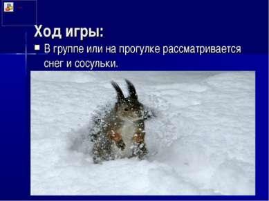 Ход игры: В группе или на прогулке рассматривается снег и сосульки.
