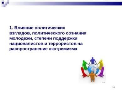 * 1. Влияние политических взглядов, политического сознания молодежи, степени ...