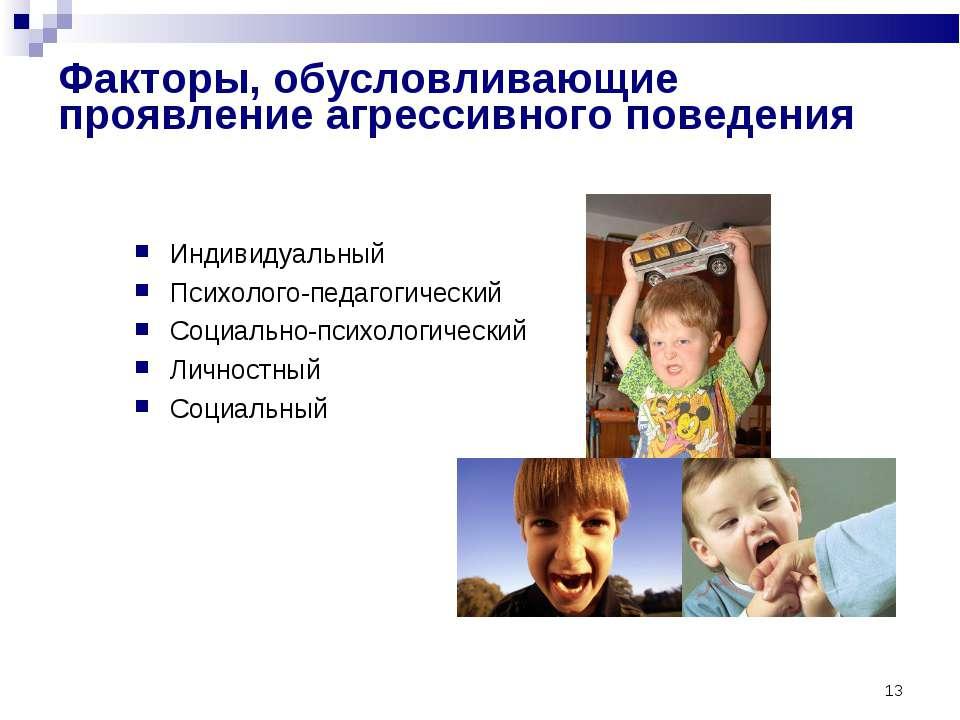 * Факторы, обусловливающие проявление агрессивного поведения Индивидуальный П...