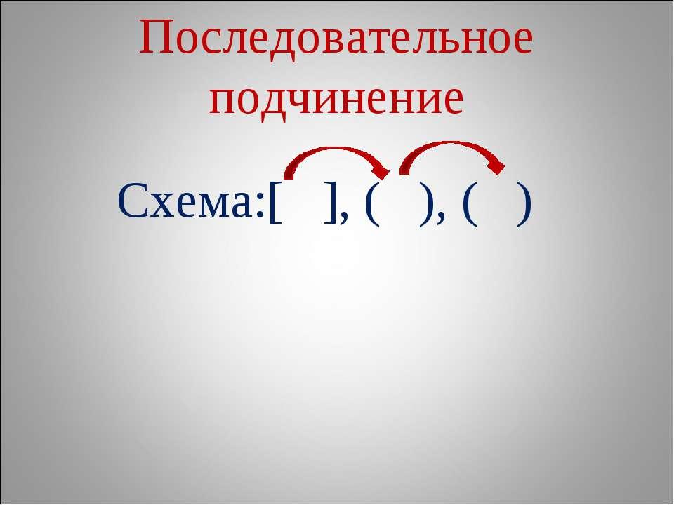 Последовательное подчинение Схема:[ ], ( ), ( )