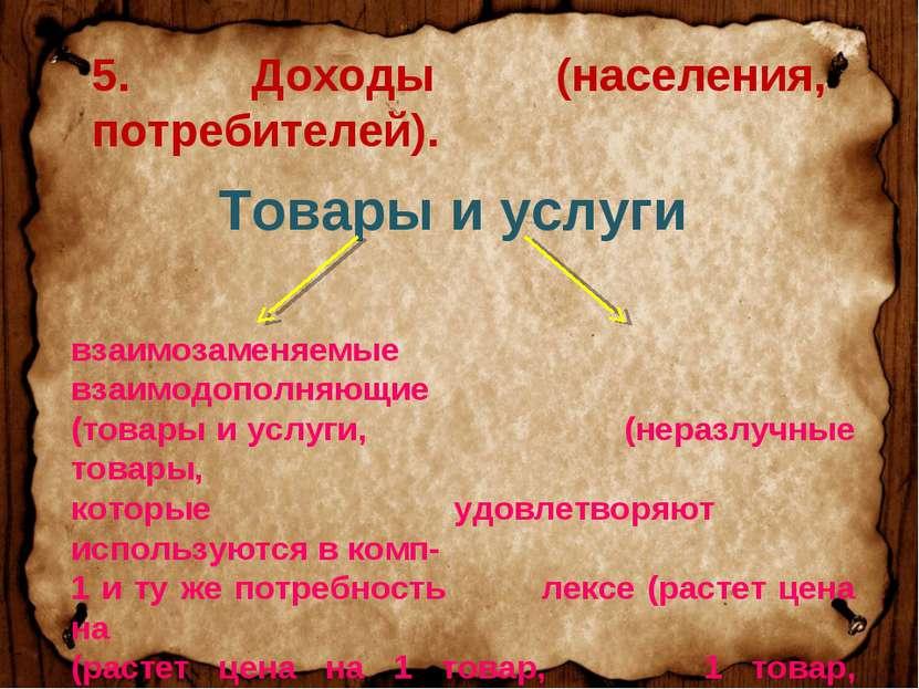 Товары и услуги взаимозаменяемые взаимодополняющие (товары и услуги, (неразлу...