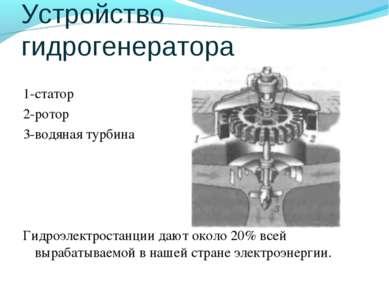 Устройство гидрогенератора 1-статор 2-ротор 3-водяная турбина Гидроэлектроста...