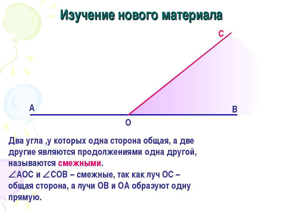 Изучение нового материала Два угла ,у которых одна сторона общая, а две други...