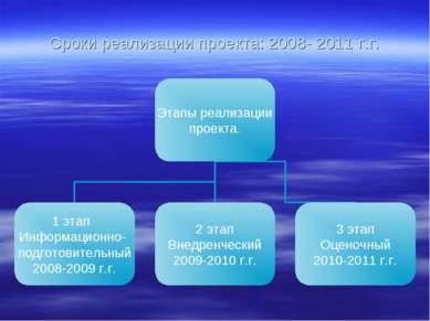 Сроки реализации проекта: 2008- 2011 г.г.