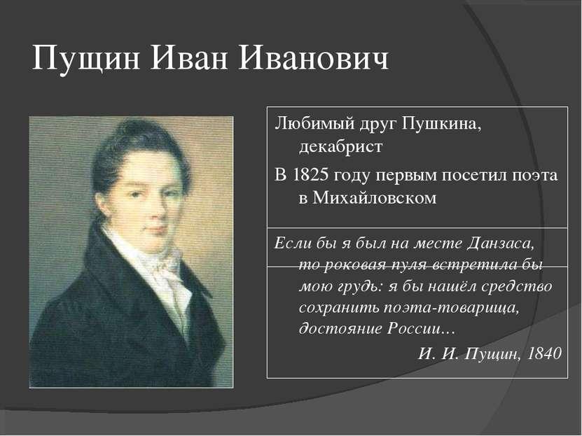 Пущин Иван Иванович Любимый друг Пушкина, декабрист В 1825 году первым посети...