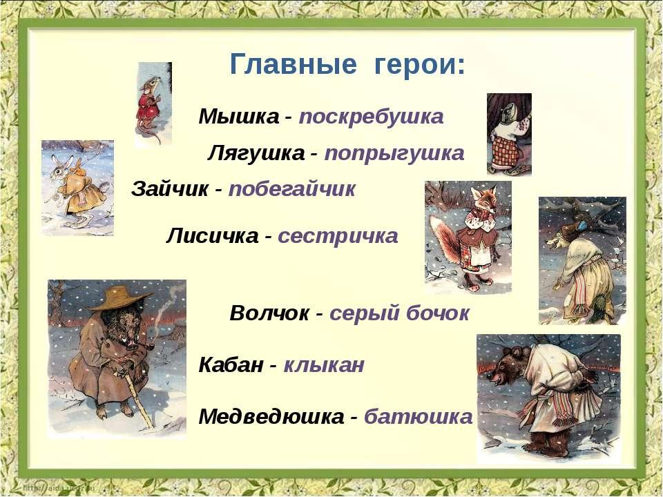 Главные герои: Мышка - поскребушка Лягушка - попрыгушка Зайчик - побегайчик Л...