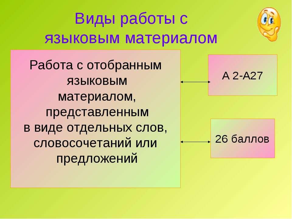 Виды работы с языковым материалом А 2-А27 26 баллов Работа с отобранным языко...