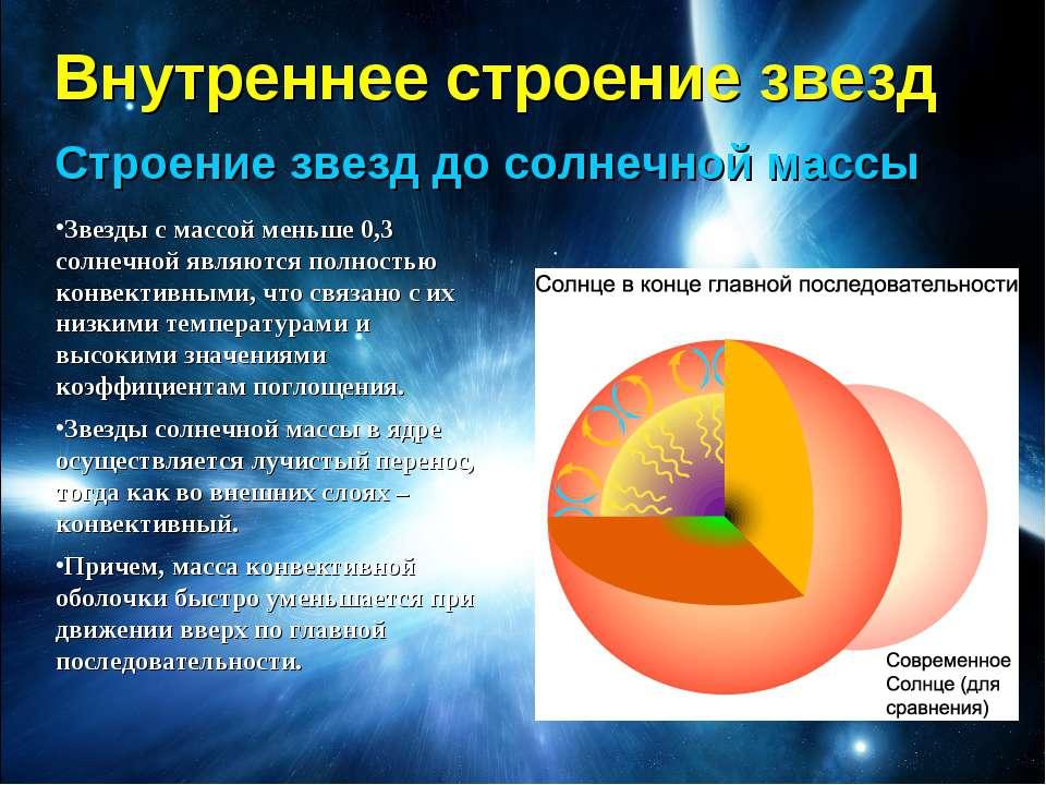 Внутреннее строение звезд Строение звезд до солнечной массы Звезды с массой м...