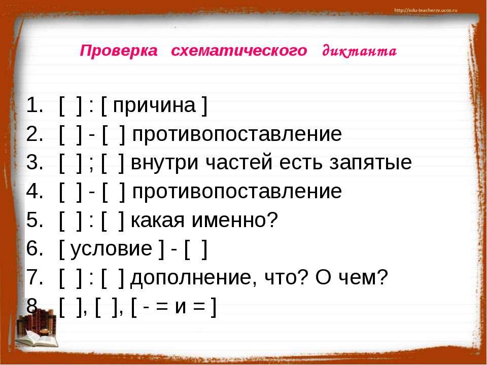 Проверка схематического диктанта [ ] : [ причина ] [ ] - [ ] противопоставлен...