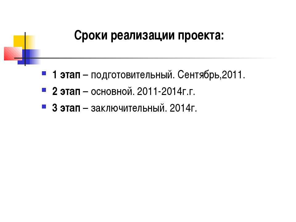 1 этап – подготовительный. Сентябрь,2011. 2 этап – основной. 2011-2014г.г. 3 ...