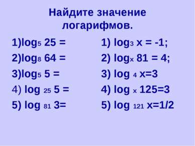 Найдите значение логарифмов. 1)log5 25 = 2)log8 64 = 3)log5 5 = 4) log 25 5 =...