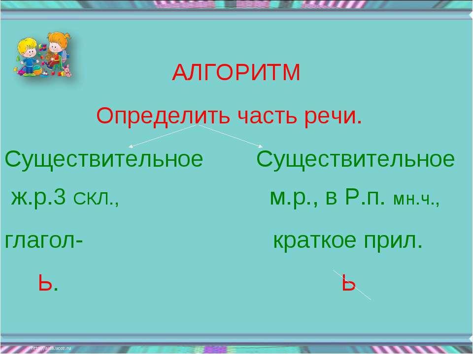 АЛГОРИТМ Определить часть речи. Существительное Существительное ж.р.3 СКЛ., м...